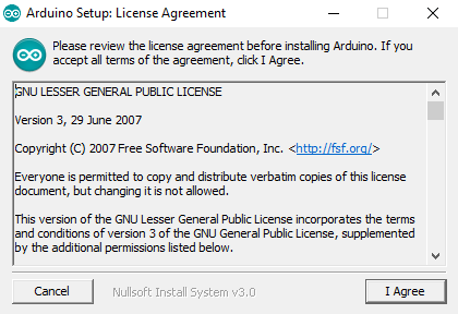 Agree licence agreement with Arduino