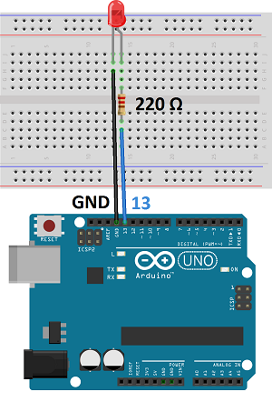 Light up led using arduino circuit diagram