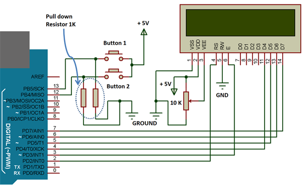 Circuit Diagram of Interfacing of LCD 16x2 and button with Arduino Uno