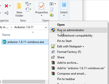 Run Arduino windows as administrator