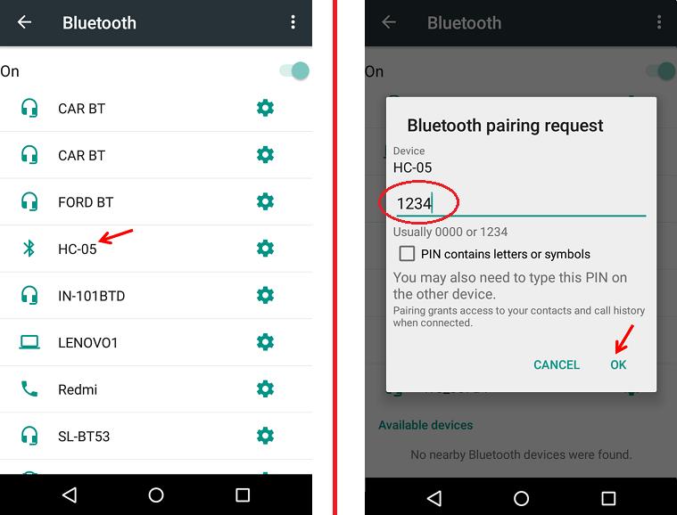 Bluetooth HC 05 Pairing