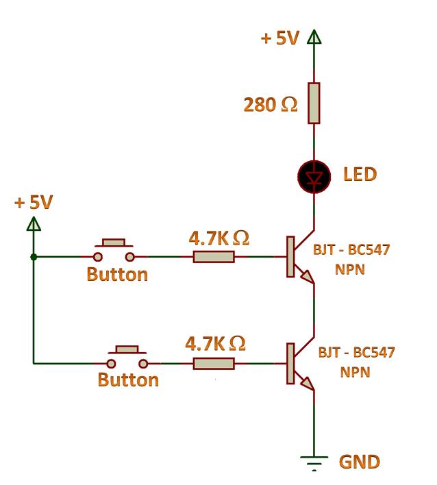 Logic Gates - AND Gate Using NPN Transistor