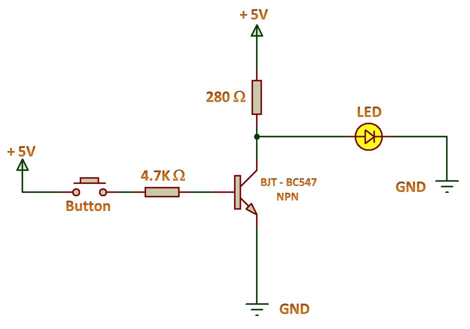 Logic Gates - NOT Gate Using NPN Transistor
