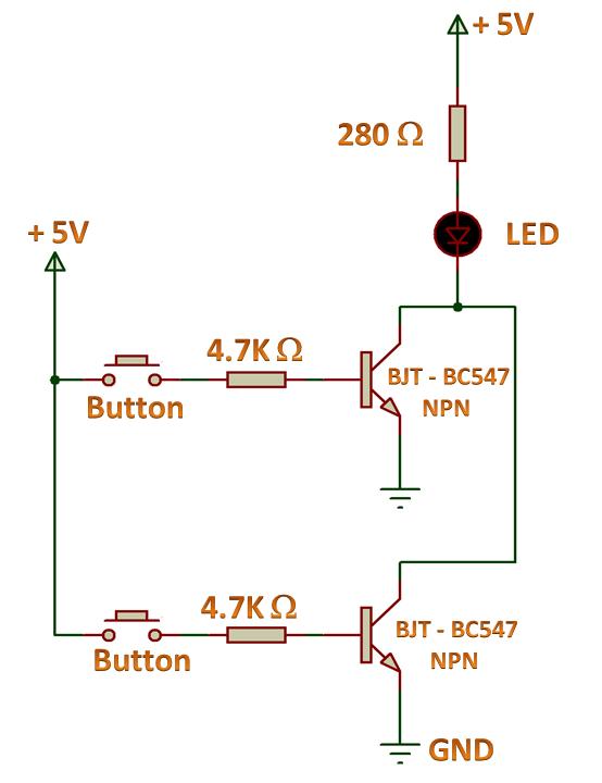 Logic Gates - OR Gate using NPN Transistor