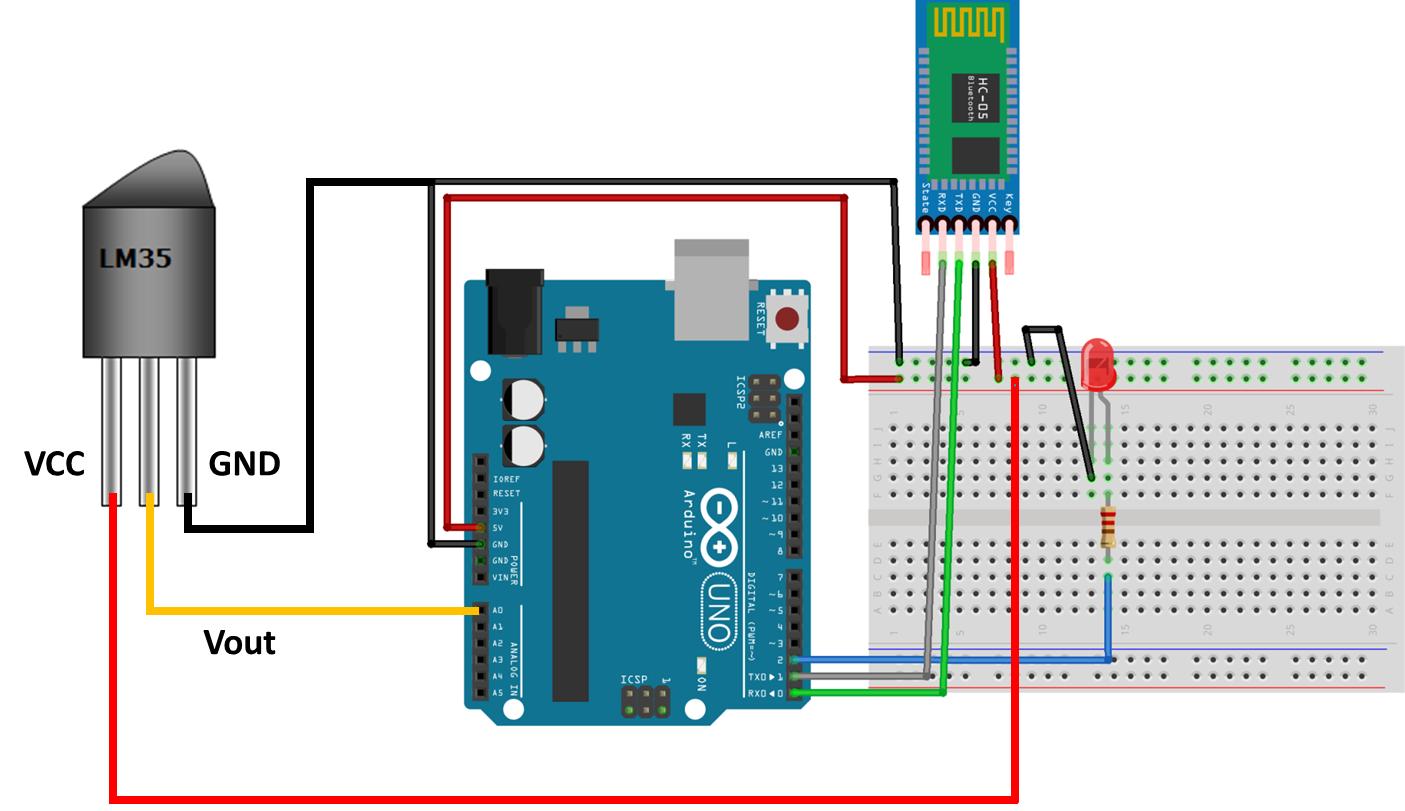 Temperature Sensor Arduino Bluetooth