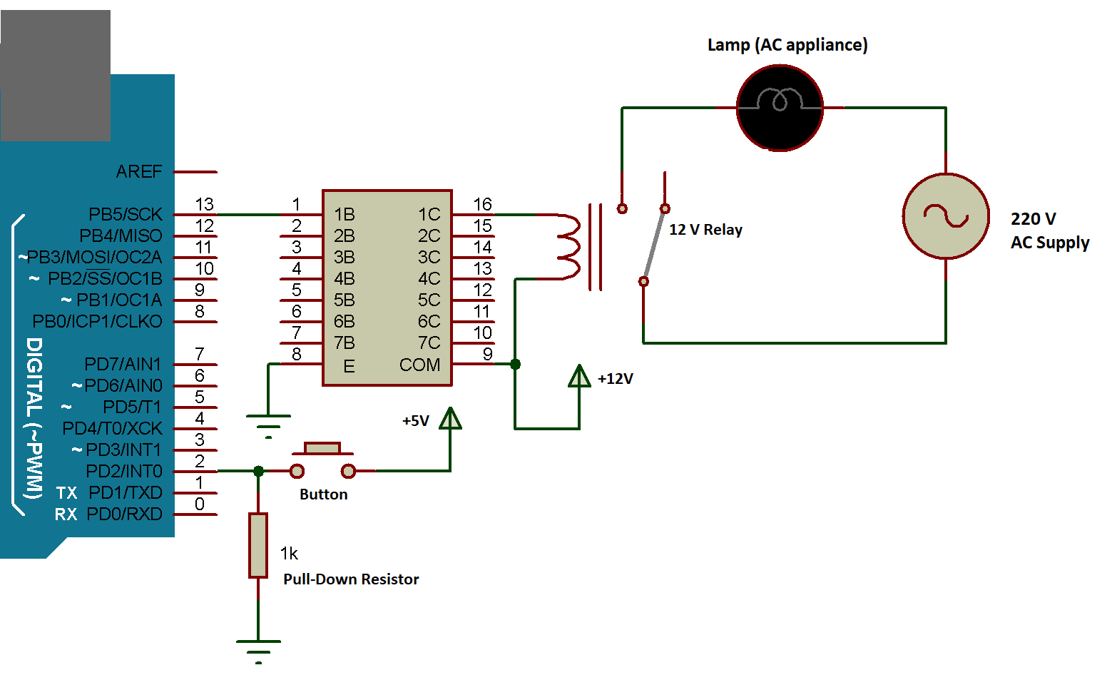 Arduino ULN with AC LOAD